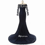 Navy Blue Lace Off The Shoulder Long Sleeve Mermaid Evening Dress, Pangent Gown