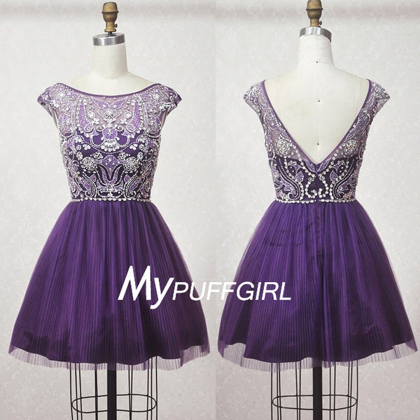 Purple Cap Sleeves Fully Beaded Tulle Homecoming Dress With V Back