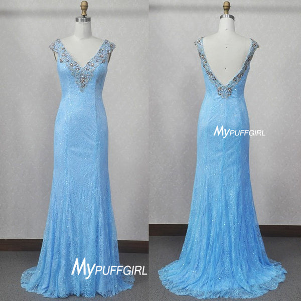 Frozen Fit And Flare Light Blue Lace V Neck Formal Gown With Beading