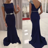 Beaded Navy Blue Evening Gown, Fitted Cap Sleeve Prom Dress With Open Back