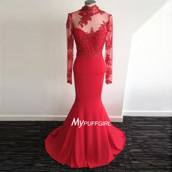 Red High Neck Long Sleeve Jersey Backless Fitted Prom Gown With Lace Appliques