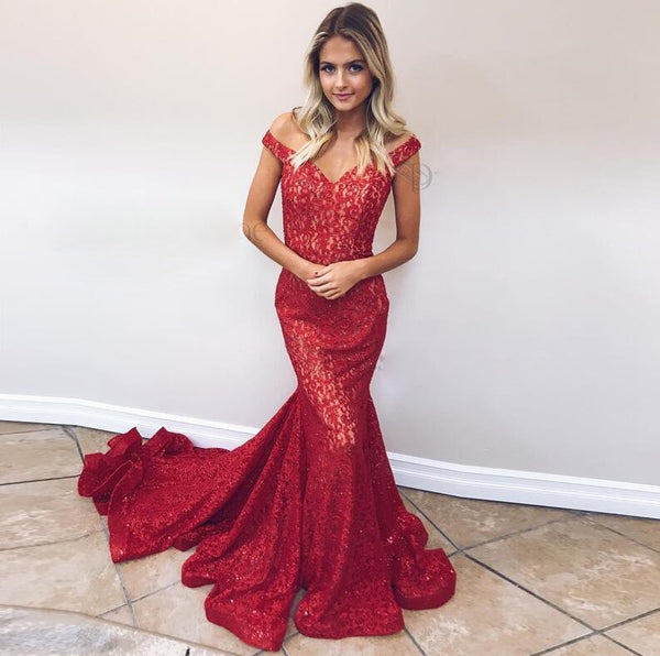 2019 Elegant Mermaid Prom Dress Red Off The Shoulder Formal Evening Gown With Sweep Train
