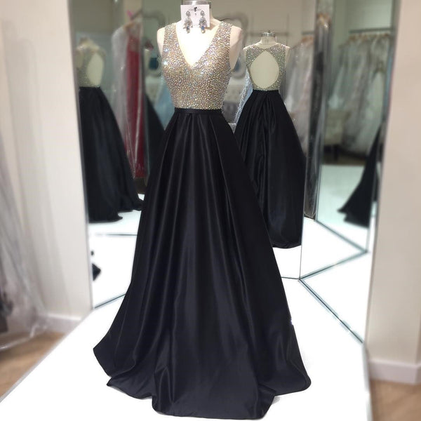 2018 Beaded Sleeveless Prom Dress Black, A Line Formal Gown With Keyhole Back