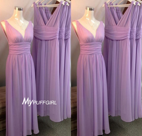 Lavender V Neck Empire Chiffon Long Bridesmaid Dress With Straps