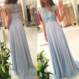 Beaded Light Blue Empire Prom Dress,Illusion Cap Sleeve Chiffon Long Formal Gown