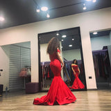 2018 Fashion Red Off The Shoulder Mermaid Formal Gown,Satin Prom Dress With Train