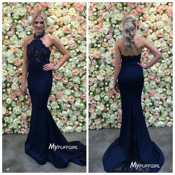 Navy Blue Halter Mermaid Prom Dress, Evening Gown With Lace Bodice