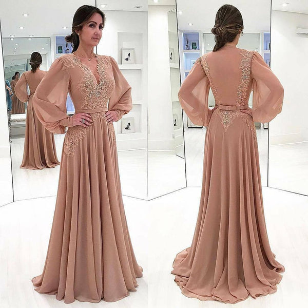 2019 New Arrival V Neck Prom Dress Long Sleeves Chiffon Wedding Party Dress With Lace Appliques Bodice