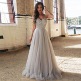 Beaded Silver Sweetheart Tulle A Line Prom Dress,Long Formal Gown,Evening Dress
