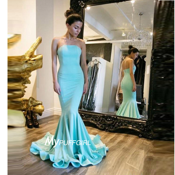 2016 New Ice Blue Strapless Satin Mermaid Prom Gown With Sweep Train