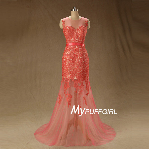 Gorgeous Fit And Flare Coral Lace Illusion Formal Prom Gown With V Back