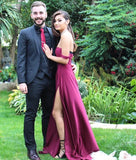 Sexy Jersey Burgundy Evening Gown,Off The Shoulder Prom Dress With High Slit