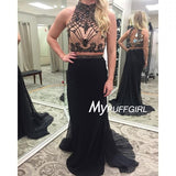 2016 Fitted High Neck Two Piece Prom Dress With Beaded Nude Bodice