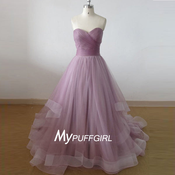 Lavender Tulle Ruched Sweetheart A Line Prom Gown With Layered Skirt
