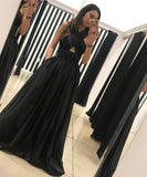Black Formal Evening Gown Halter A Line Cut Out Prom Dress With Beaded Waist