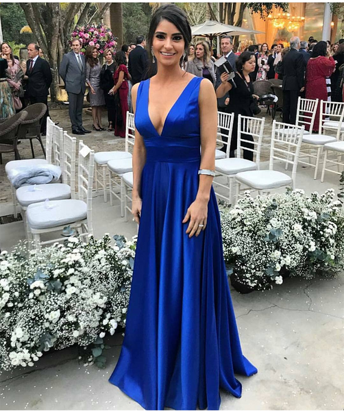 2019 Sexy Royal Blue Prom Dress Deep V Neck Formal Evening Gown A Line