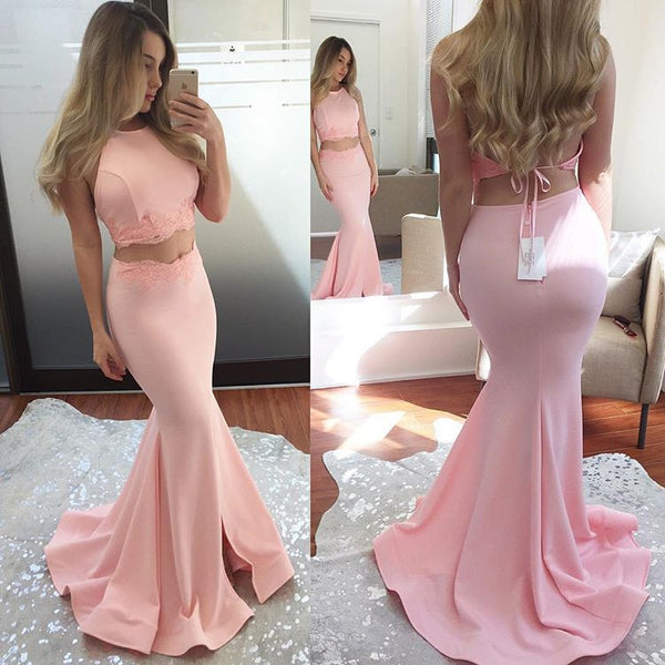 Pink Two Piece Mermaid Prom Dress,Long Party Dress For Senior