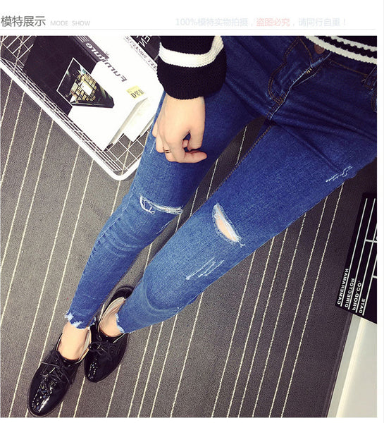 Fashion Medium Blue Skinny Hole Ripped Jeans For Women