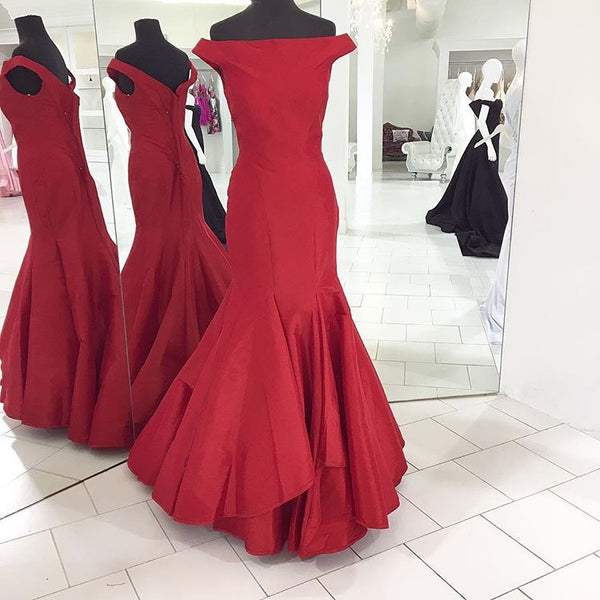 Red Taffeta Pageant Gown,Off The Shoulder Mermaid Prom Dress With Layered Skirt