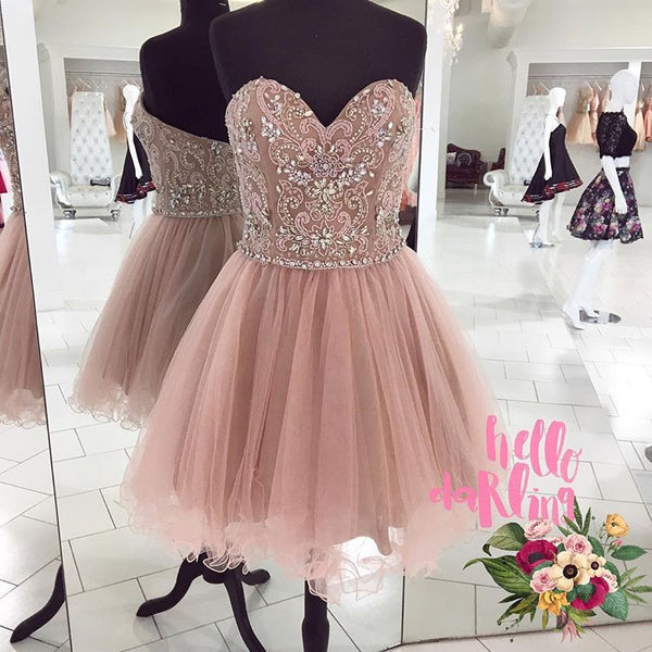 2017 Beaded Nude Cocktail Dress,Sweetheart Tulle Homecoming Dress