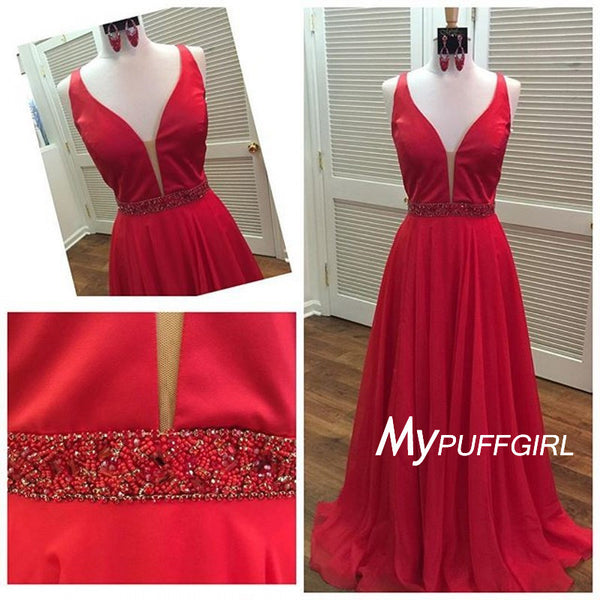 Red Plunging V Neck Chiffon Evening Gown With Beaded Waist