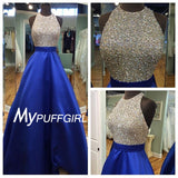 Royal Blue Halter Satin A Line Open Back Prom Dress With Full Beaded Bodice