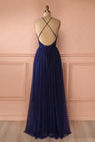 Navy Blue Deep V Neck Tulle Long Party Dress With Open Back