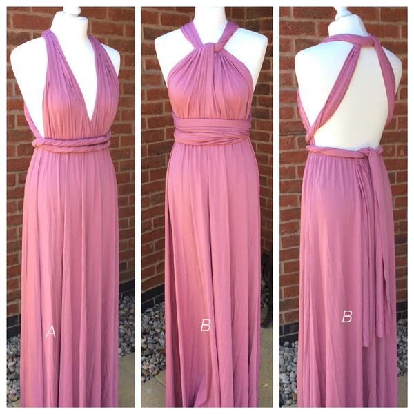 Carnation Halter Backless Long Chiffon Bridesmaid Dress With Pleated Bodice