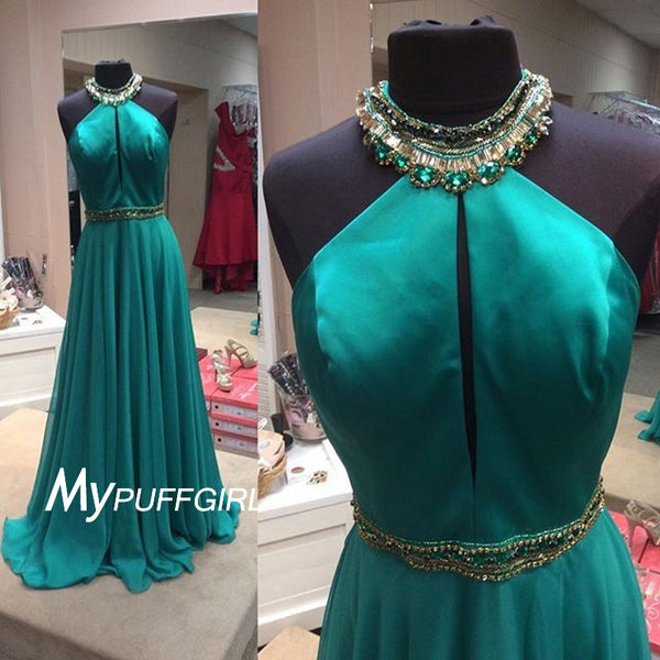 2016 Jade Jewel Halter Neck Prom Gown With Little Keyhole Bodice
