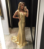 Gold Sequin V Neck Backless Mermaid Prom Gown, Homecoming Dress
