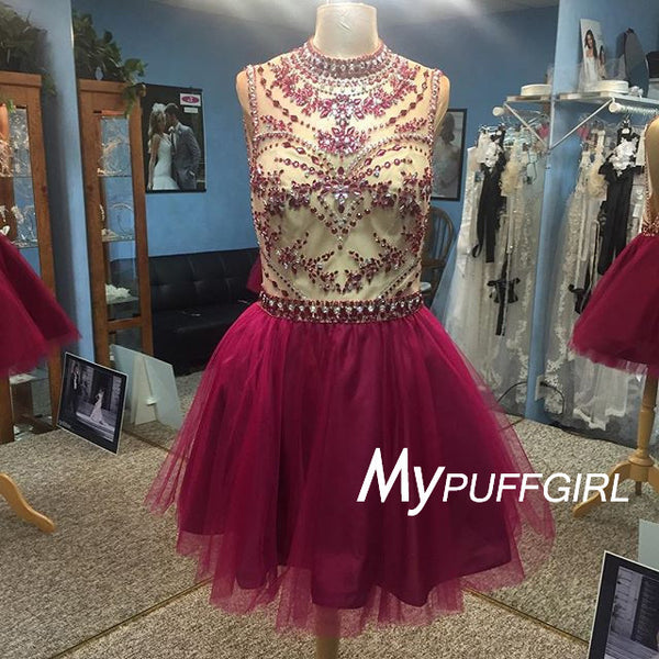 Burgundy High Neck Beaded Cocktail Dress, Open Back Homecoming Dress