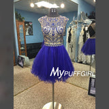 Royal Blue Beaded Homecoming Dress ,  Open Back Tulle Cocktail Dress