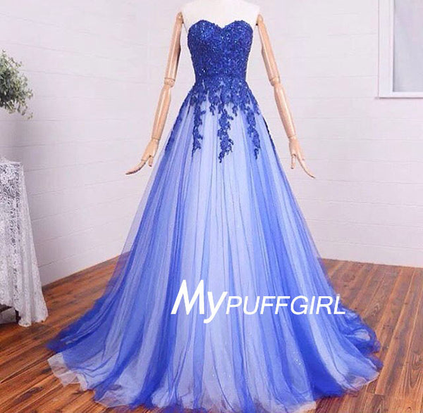 Glamour Sweetheart Tulle A Line Formal Prom Gown With Lace Appliques