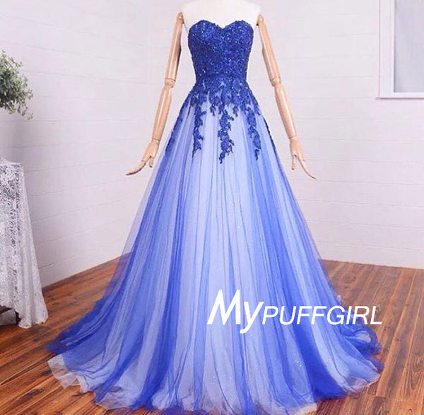 2016 Sweetheart A Line Tulle Prom Dress,  Lace Appliques Formal Gown