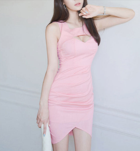 Pink Sheath Short Cocktail Dress With Cut Out Bodice