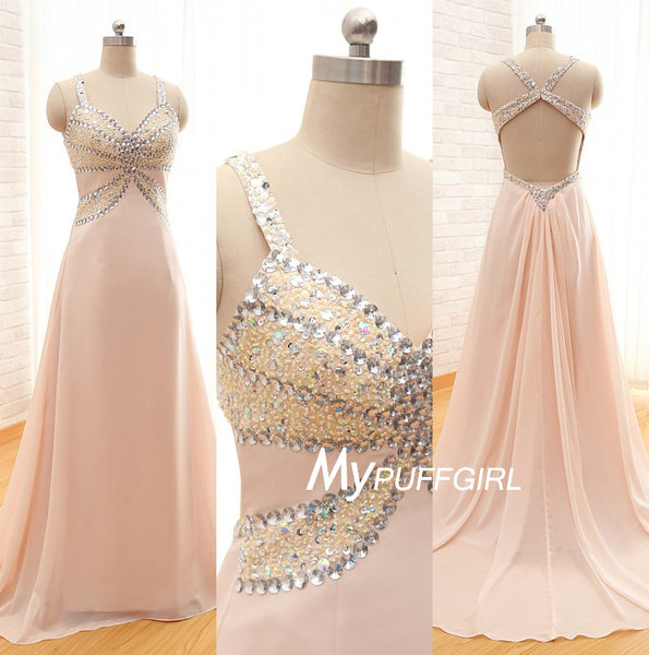 Pearl Pink Beaded Sweetheart Chiffonn Prom Dress With Open Back