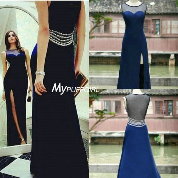 Navy Blue Sheer Back Prom Dress, Formal Gown With Side Slit