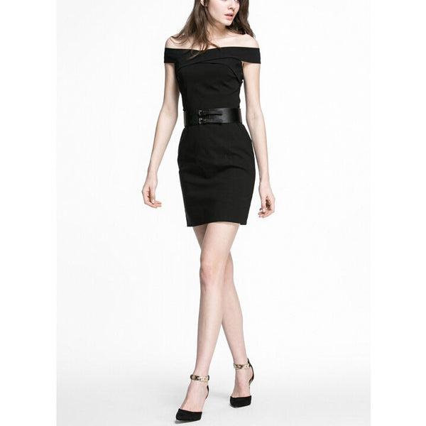 Fitted Off The Shoulder Black Little Dress, Cocktail Dress With Belt