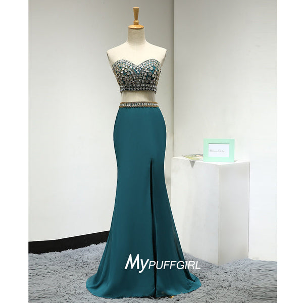 Fitted Jade Sweetheart Two Piece Slit Prom Dress With Crystals