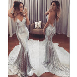 Sexy Silver Sequin Mermaid Prom Dress, V Neck Formal Gown With Open Back