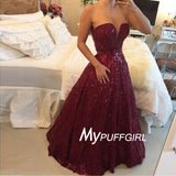 Burgundy Lace Plunging Sweetheart Prom Gown With Beading And Sequins