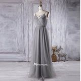 Silver Grey Tulle V Back Long Bridesmaid Dress With Pleated Bodice
