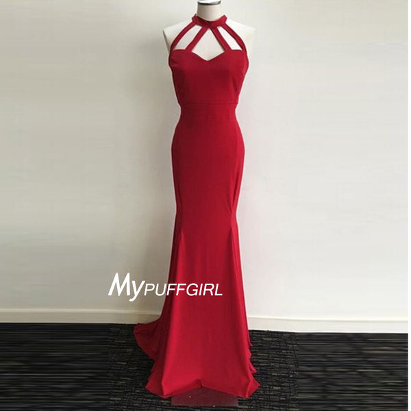 Red Halter Jersey Sheath Evening Gown , Prom Dress With Straps