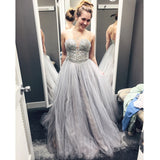 Silver Sweetheart Prom Dress, A Line Tulle Prom Gown With Beaded Bodice