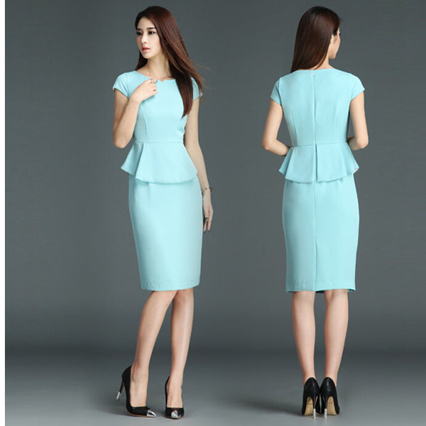 Ice Blue Peplum Cap Sleeve Fitted Short Dress