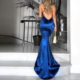 Royal Blue V Neck Mermaid Prom Dress,Open Back Formal Gown With Cross Spaghetti Straps