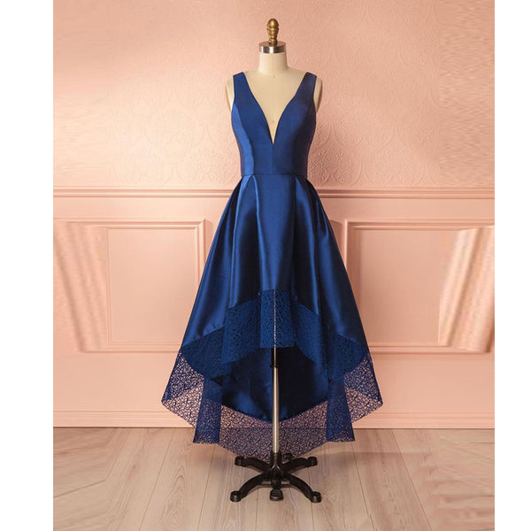 Blue Low V Neck Homecoming Dress,Tea Length Party Dress With High Low Skirt