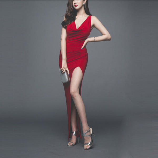 Red V Neck Jersey Fitted Long Dress With Side Slit