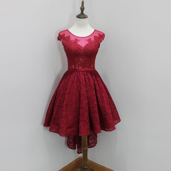 Wine Red Illusion Lace Short Party Dress,Homecoming Dress Cap Sleeves