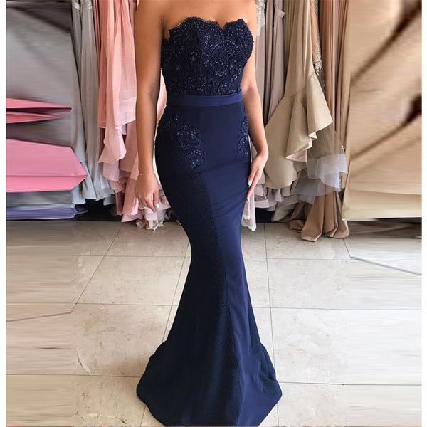 Navy Blue Prom Dress, Mermaid Formal Gown, Pageant Dress ,Long Prom Gown